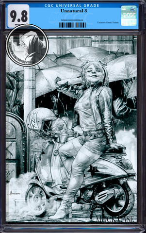 UNNATURAL #8 (OF 12) UNKNOWN COMIC BOOKS JAY ANACLETO ECCC B&W VIRGIN EXCLUSIVE CGC 9.8 BLUE LABEL (IN STOCK)
