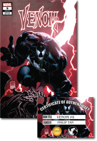 VENOM #9 UNKNOWN COMIC BOOKS PHILIP TAN EXCLUSIVE SIGNED W/ COA 4/30/2019