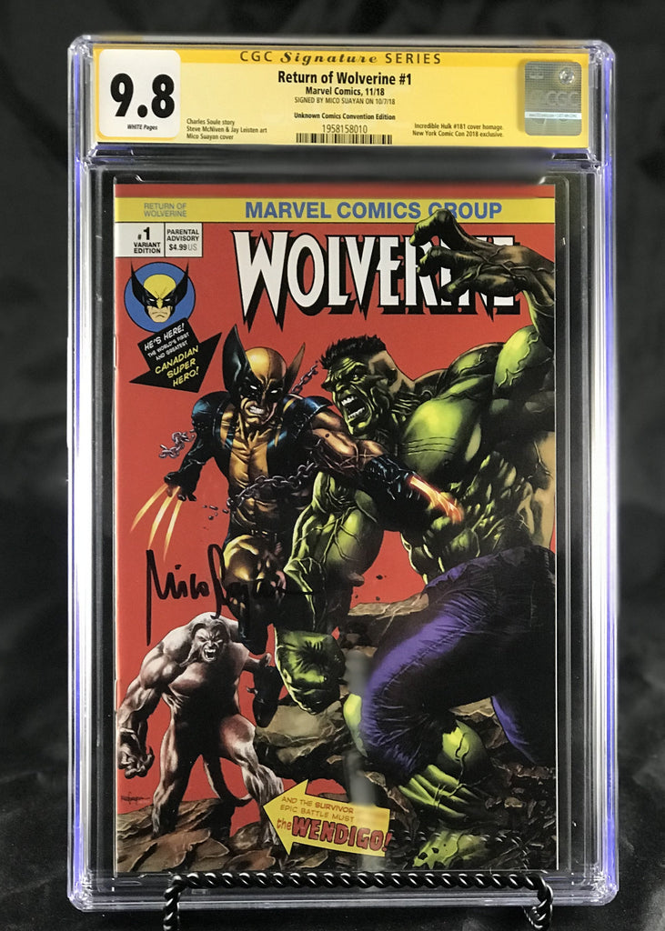 a7bf708672b RETURN OF WOLVERINE #1 (OF 5) UNKNOWN COMIC BOOKS MICO SUAYAN NYCC CON CGC  9.8 SS YELLOW LABEL 1/30/2019