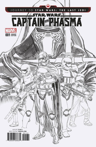 JOURNEY TO STAR WARS The Last Jedi Captain Phasma #1 Brooks 1:200 Variant BW NM