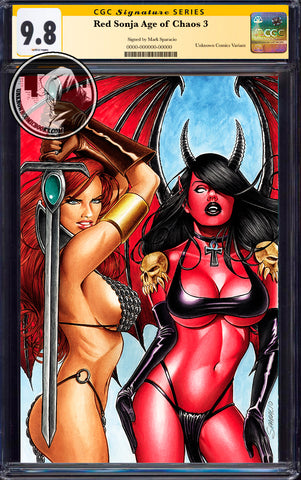RED SONJA AGE OF CHAOS #3 UNKNOWN COMICS MARK SPARCIO EXCLUSIVE VIRGIN VAR CGC 9.8 SS YELLOW LABEL (08/26/2020)
