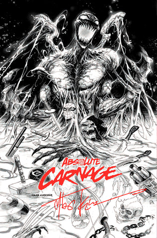 SIGNED W/COA ABSOLUTE CARNAGE #1 (OF 4) TYLER KIRKHAM EXCLUSIVE B&W (09/25/2019)