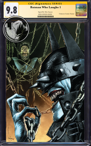BATMAN WHO LAUGHS #1 (OF 6) UNKNOWN COMIC BOOKS EXCLUSIVE SUAYAN UNMASKED CONVENTION CGC 9.6+ SS YELLOW LABEL 5/30/2019