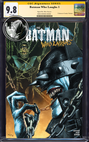 BATMAN WHO LAUGHS #1 (OF 6) UNKNOWN COMIC BOOKS EXCLUSIVE SUAYAN CGC 9.6+ SS YELLOW LABEL 5/30/2019