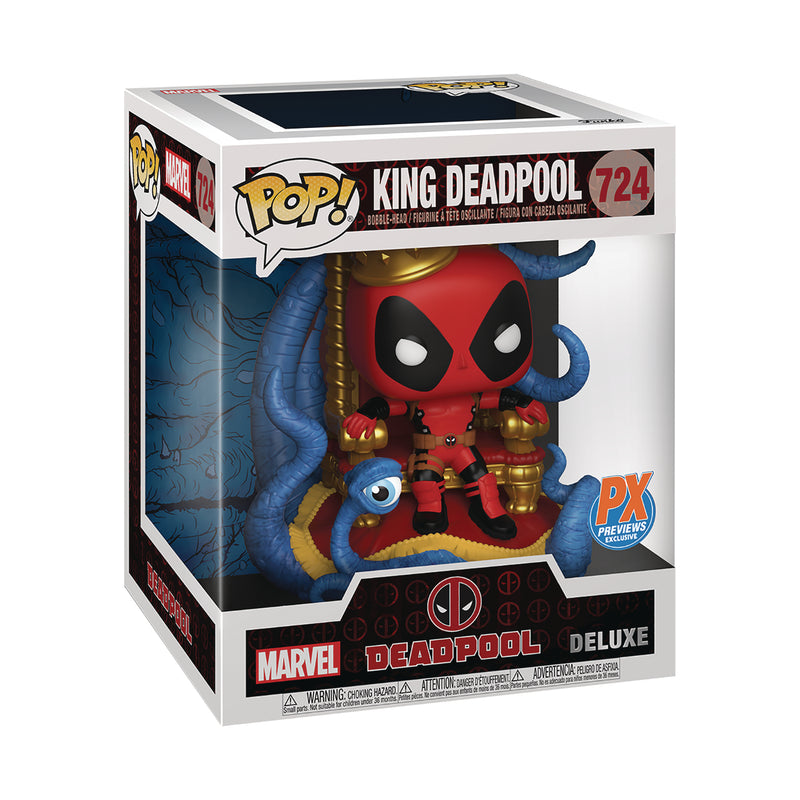 POP DELUXE MARVEL HEROES KING DEADPOOL ON THRONE PX VIN FIG (12/16/2020)