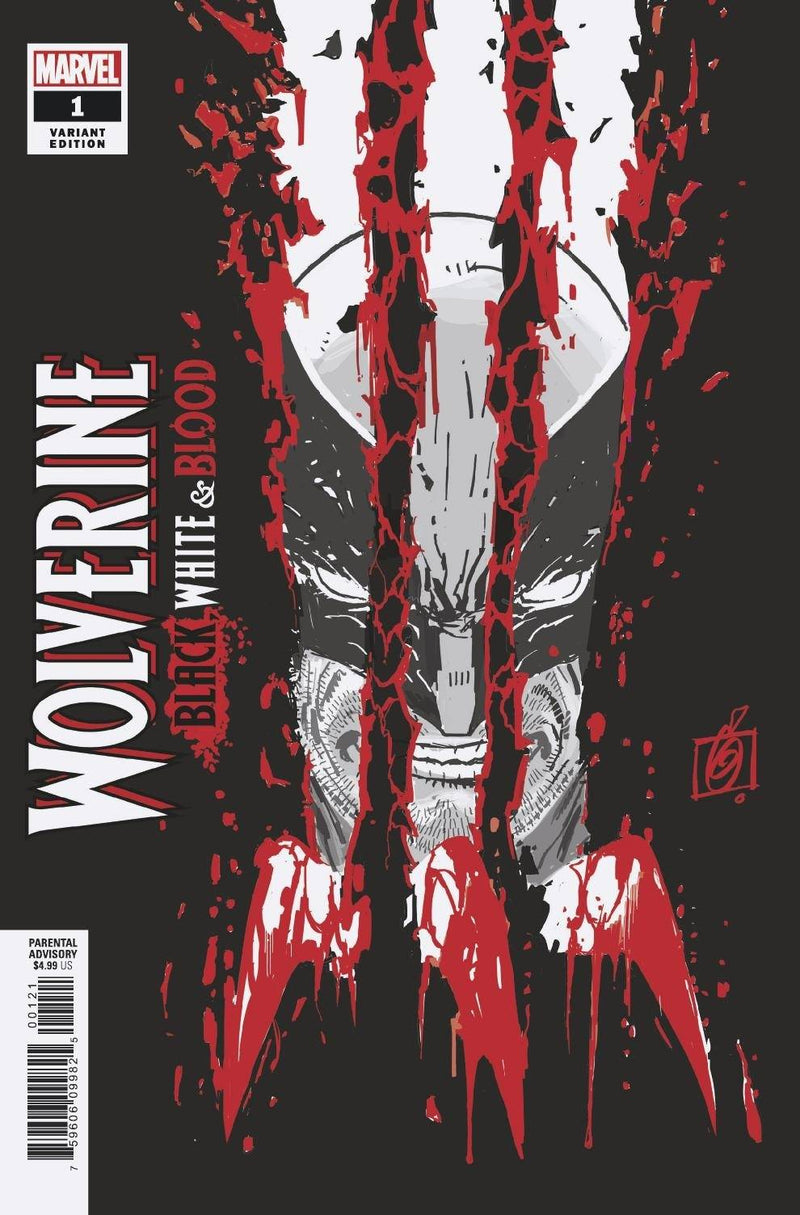 WOLVERINE BLACK WHITE BLOOD