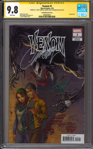 VENOM #1 J SCOTT CAMPBELL VAR 1:50 CGC 9.8 SS YELLOW LABEL TRIPLE SIGNED 5/9/2018