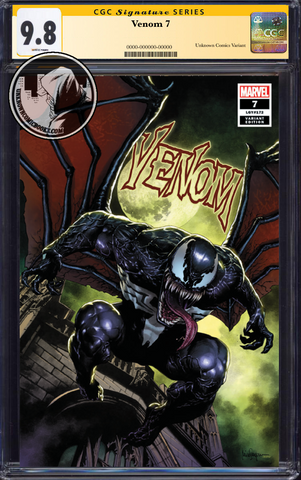 VENOM #7 UNKNOWN COMIC BOOKS SUAYAN CGC 9.8 SS YELLOW LABEL 5/30/2019