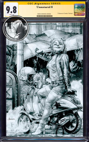 UNNATURAL #8 (OF 12) UNKNOWN COMIC BOOKS JAY ANACLETO ECCC B&W VIRGIN EXCLUSIVE CGC 9.8 SS YELLOW LABEL (IN STOCK)