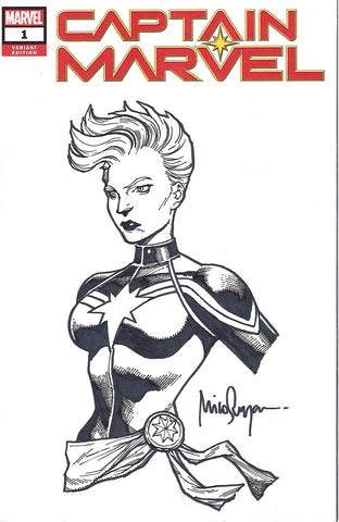 CAPTAIN MARVEL #1 UNKNOWN COMIC BOOKS BLUERAINBOW EXCLUSIVE BLANK SKETCH MICO SUAYAN CAPTAIN MARVEL BUST 3/4/2019