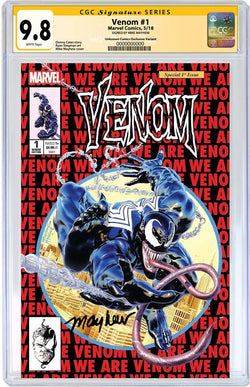 VENOM #1 UNKNOWN COMIC BOOKS & KRS EXCLUSIVE 9.8 CGC SS YELLOW LABEL MAYHEW 8/1/2018