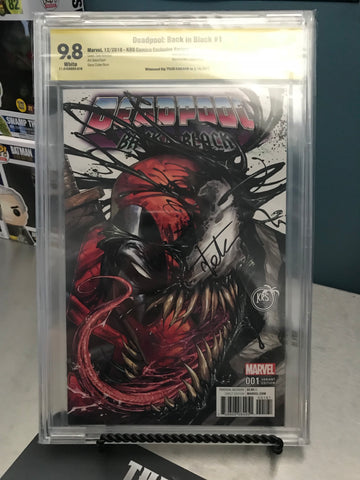 DEADPOOL BACK IN BLACK #1 (OF 5) KRS COLOR 9.8 CBCS YELLOW LABEL SIGNED BY TYLER KIRKHAM