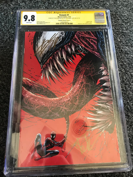 VENOM #1 CONVENTION UBC DOUBLE SIGNED KIRKHAM/CATES EXCLUSIVE CGC 9.8 SS YELLOW LABEL