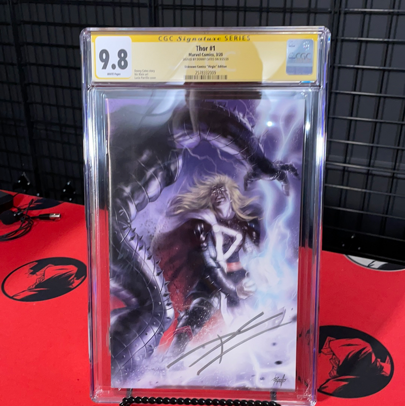 LIVE SALE THOR 1 UCB EXCLUSIVE PARRILLO VIRGIN COVER SIGNED BY DONNY CATES YELLOW LABEL 9.8