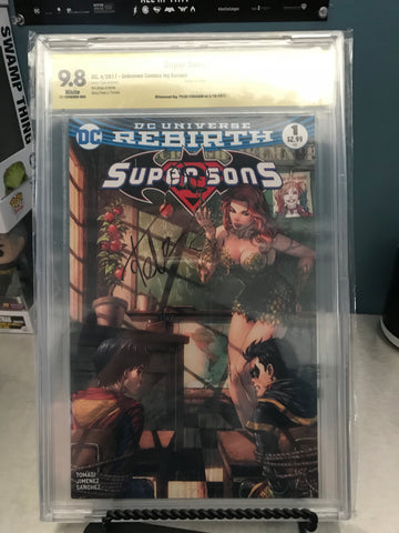 SUPER SONS #1 UNKNOWN COMIC BOOKS CVR B POISON IVY 9.8 CBCS YELLOW LABEL SINGED BY TYLER KIRKHAM