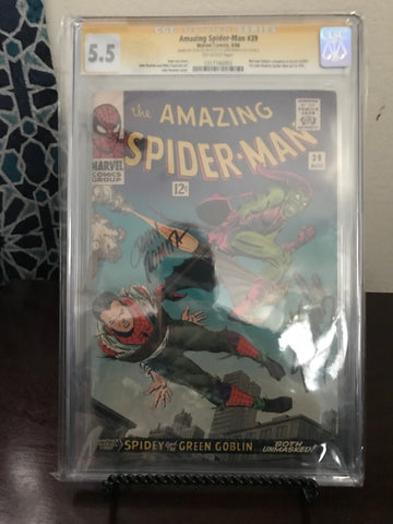 AMAZING SPIDER-MAN #39 CGC 5.5 SIG SERIES DOUBLE SIGNED ROMITA & STAN LEE