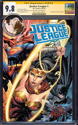 JUSTICE LEAGUE #1 UNKNOWN COMIC BOOKS KIRKHAM CGC SS YELLOW LABEL 9.8 9/1/2018