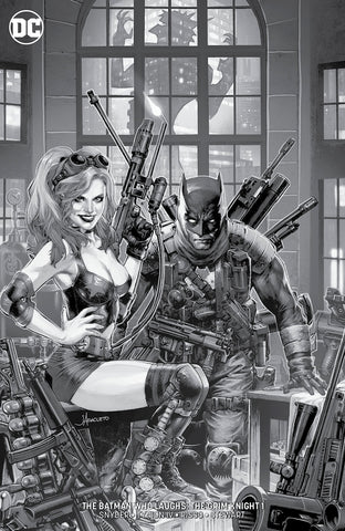 SIGNED W/ COA BATMAN WHO LAUGHS THE GRIM KNIGHT #1 UNKNOWN COMIC BOOKS JAY ANACLETO EXCLUSIVE BLACK AND WHITE (07/31/2019)