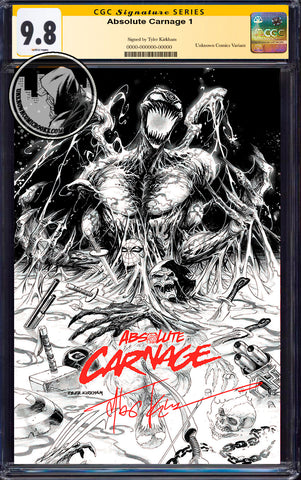 ABSOLUTE CARNAGE #1 (OF 4) TYLER KIRKHAM EXCLUSIVE B&W CGC 9.8 SS YELLOW LABEL (11/30/2019)