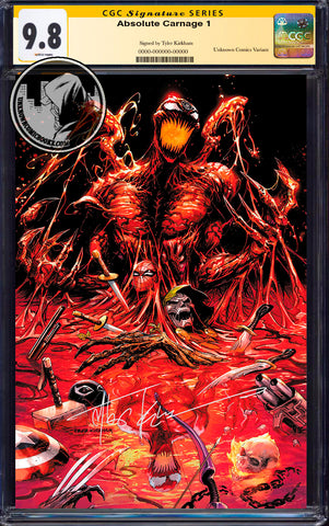 ABSOLUTE CARNAGE #1 (OF 4) TYLER KIRKHAM EXCLUSIVE VIRGIN CGC 9.8 SS YELLOW LABEL (11/30/2019)