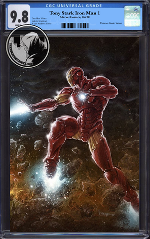 TONY STARK IRON MAN #1 CONNECTING PARTY UCB EXCLUSIVE VIRGIN VAR CGC 9.8 BLUE LABEL 9/1/2018