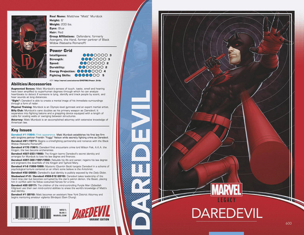 DAREDEVIL #600 CHRISTOPHER TRADING CARD VAR LEG 3/28/2018