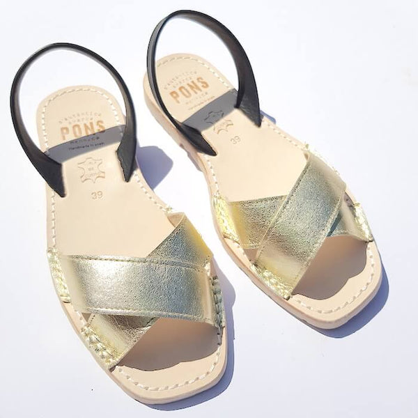 Gold cross with black backstrap sandals