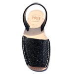 Glitter BLACK  Menorca Sandals