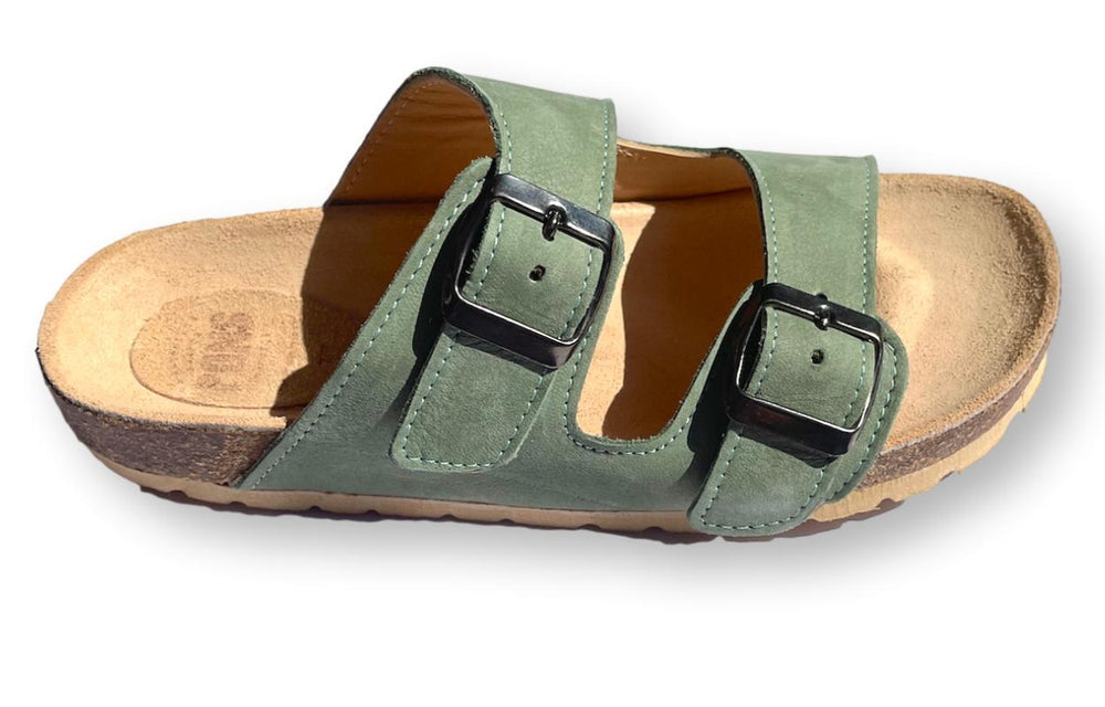 Slides in khaki green - side view