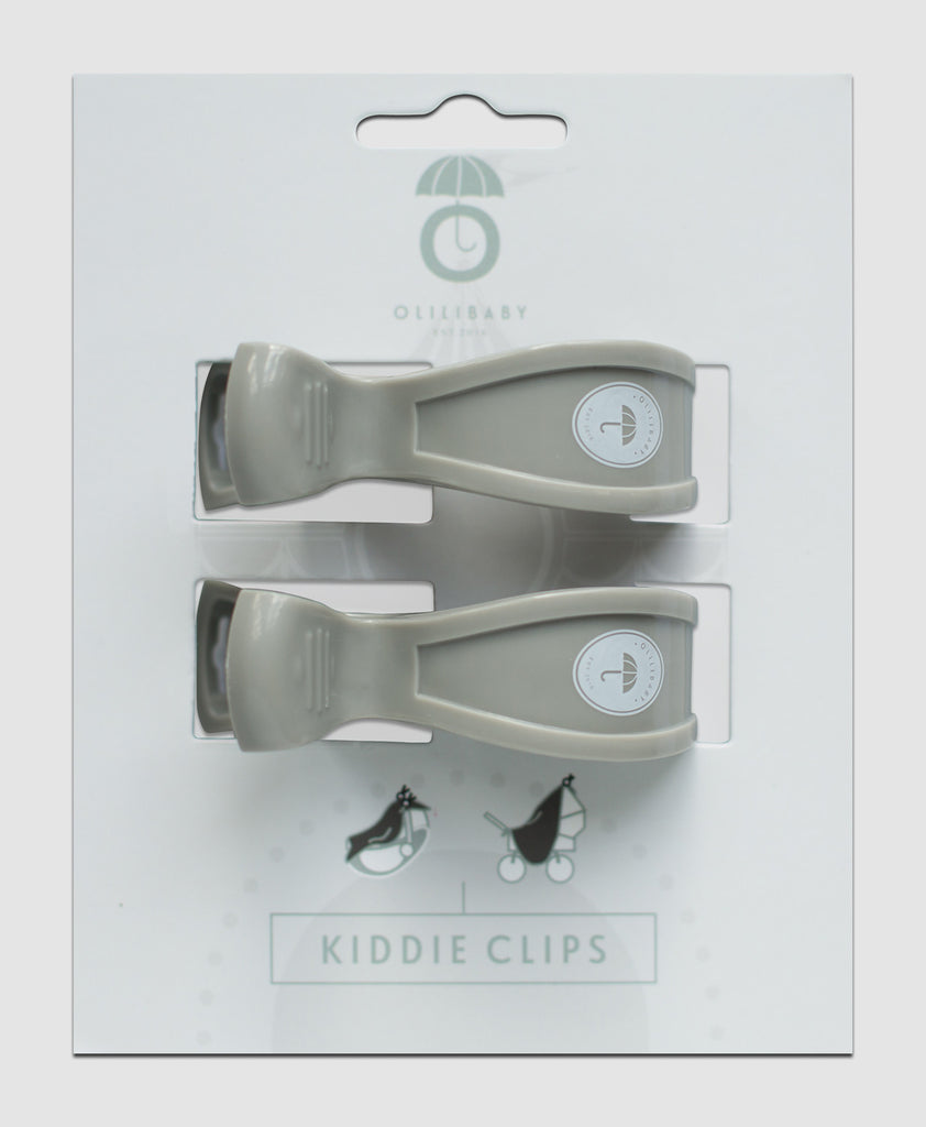 OLILIBABY Kiddie Clips Grey Gray 2 pack Swaddle Blanket Stroller Clip sold from Toronto