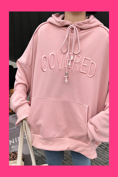 Pink Embroidered Covered Hoodie