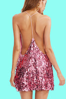 Pink Sequin Cami Dress