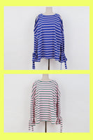 Slit stripe Long Sleeve T shirt