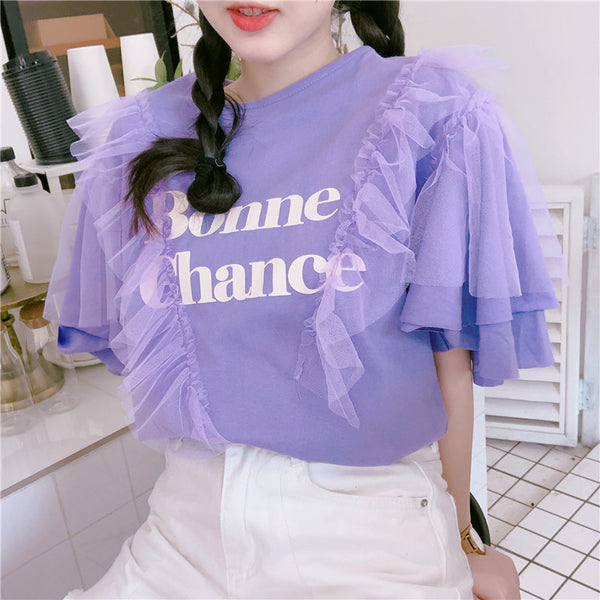 Bonne Chance Tulle Feature Tee