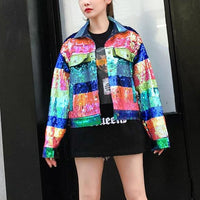 Sequin Multicoloured Denim Stripe Jacket