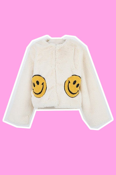 Smiley Face Fur Jacket