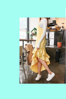 Ruffle Hem Yellow Dress