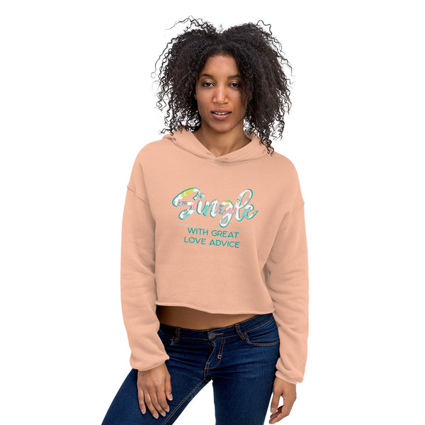 Single Women Crop Hoodie Love