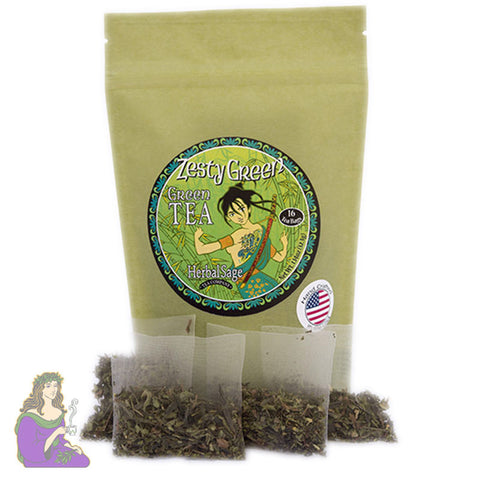 Herbal Sage: Zesty Green Tea in Teabags
