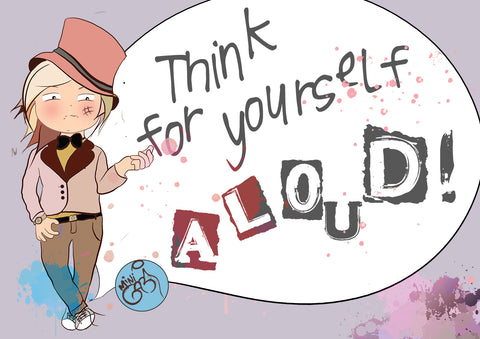 """Mini Gabi """"Think for yourself, aloud"""", art illustration, inspired by Coco Chanel"""