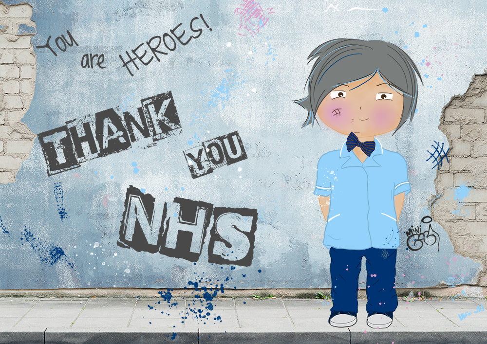 "Mini Gabi Artwork ""Thank You NHS staff"", Mini Nurse Art print"