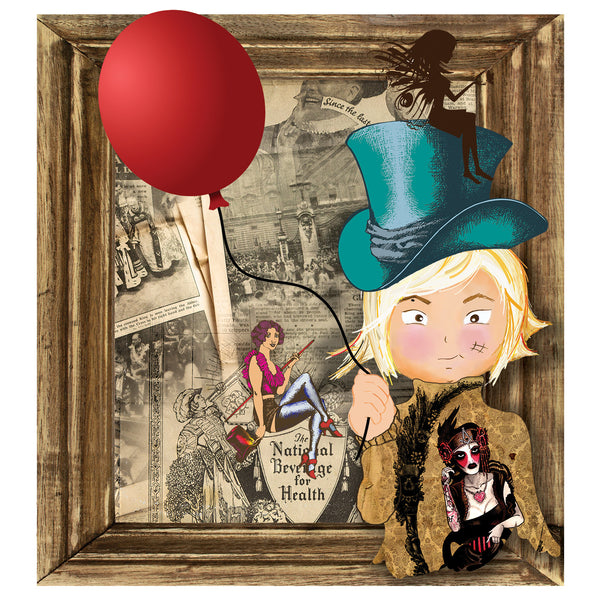 Red Balloon Art Print Of Mini Gabi by Gabi Almeida