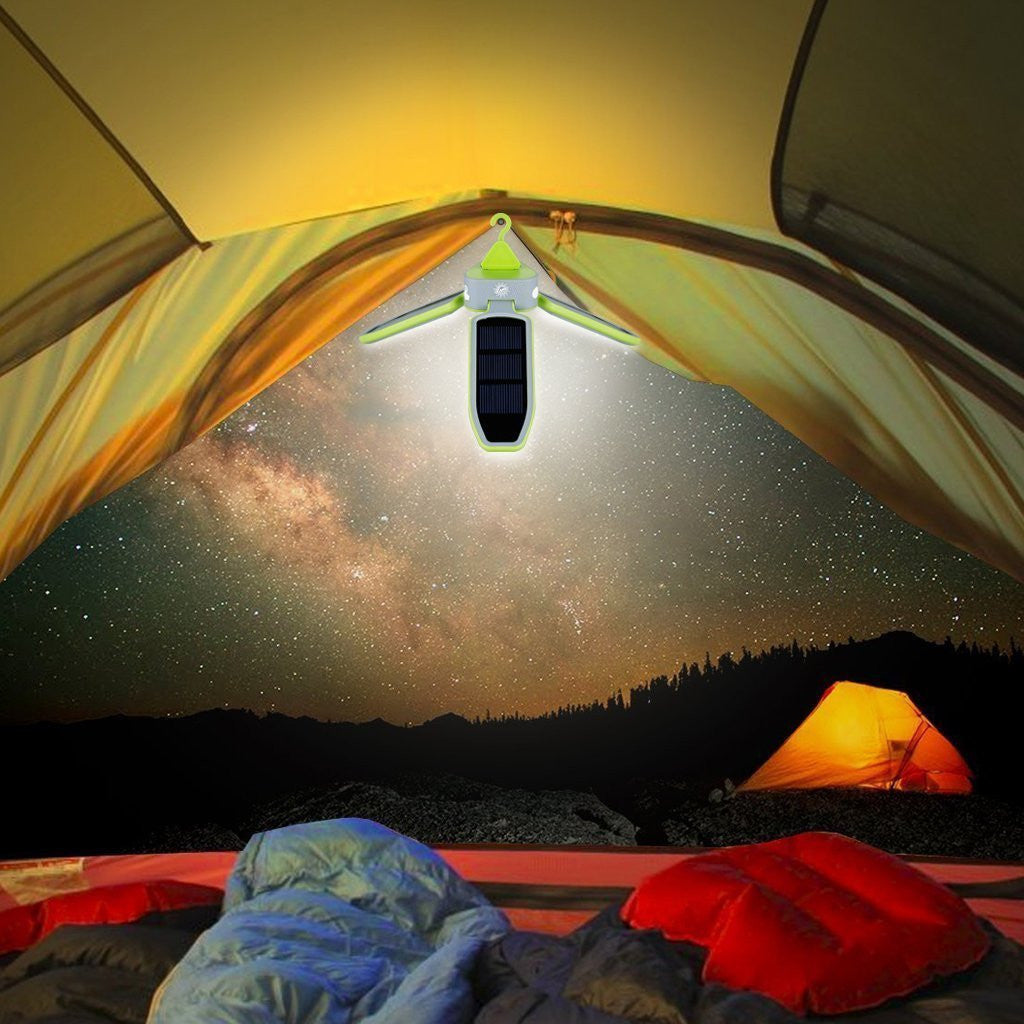 Lume Lighting LED Solar Camping Collapsible Lantern Light with 18 Ultra Bright LED Lights Powered By USB Charging and Solar Panel