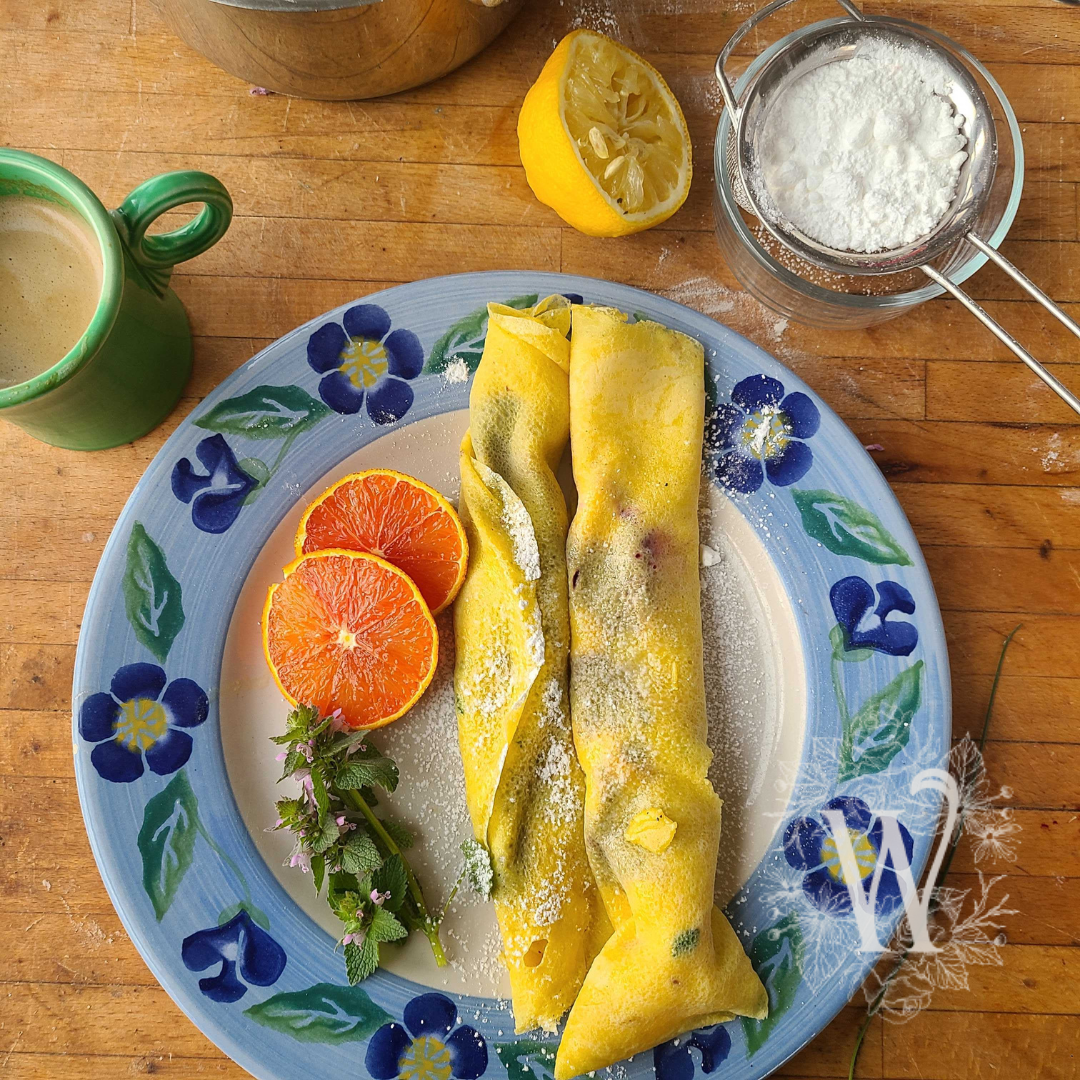 Lemony Dandelion Crepes Recipe