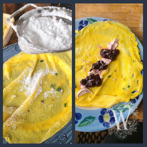 Lemony Dandelion Crepes with Powdered Sugar and Berries
