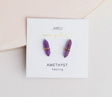 Amethyst Mineral Point Earrings