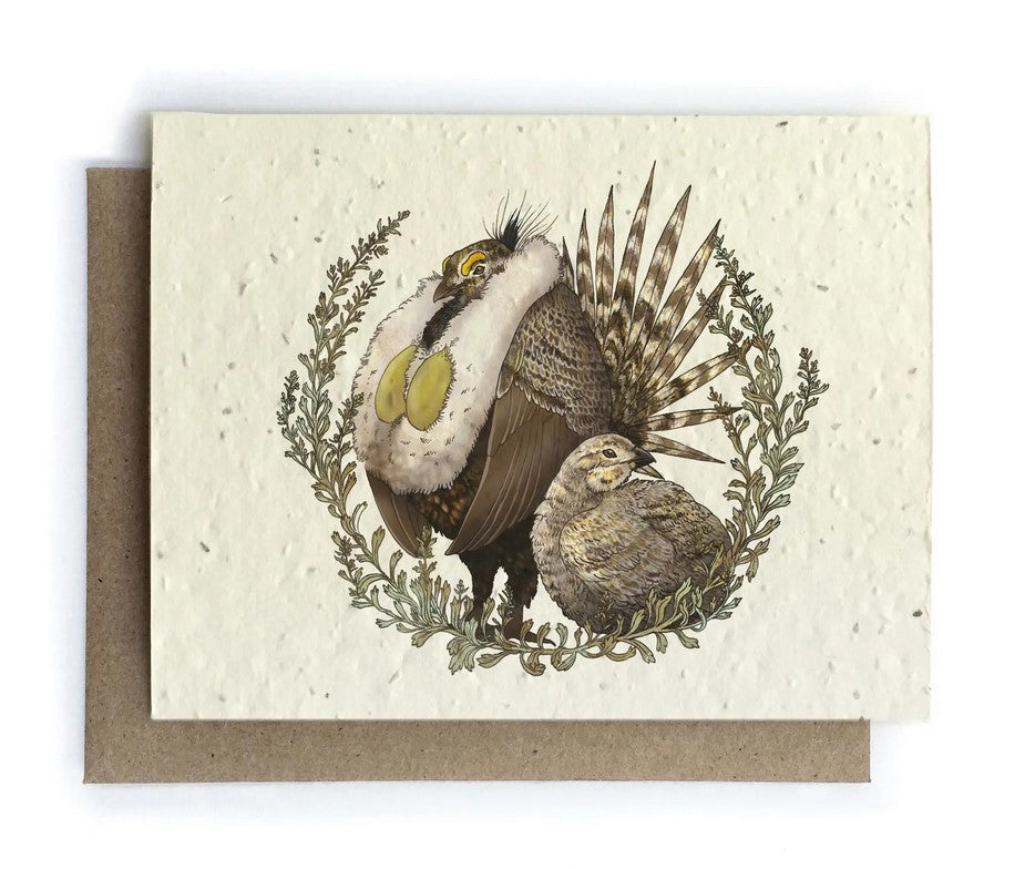 The Bower Studio - Grouse and Sagebrush Greeting Cards - Plantable Seed Paper