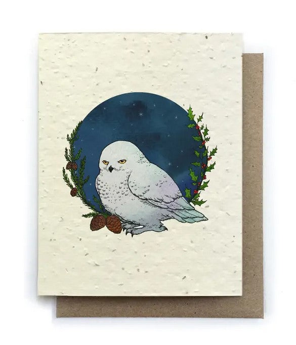 The Bower Studio - Winter Snowy Owl Greeting Cards - Plantable Seed Paper
