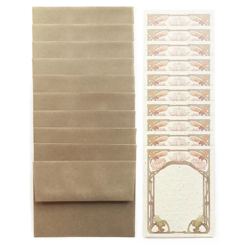 The Bower Studio - Set of 10 Pondside Flat Note Cards - Plantable Seed Paper