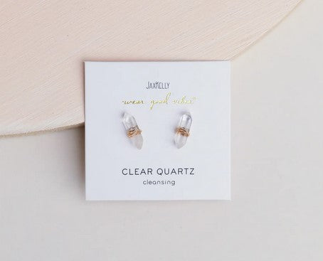 Clear Quartz Mineral Point Earrings